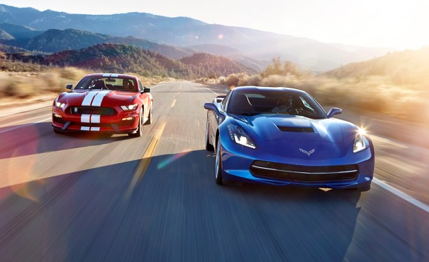 Red, Fight, and Blue: Corvette Stingray Z51 vs. Mustang Shelby GT350!