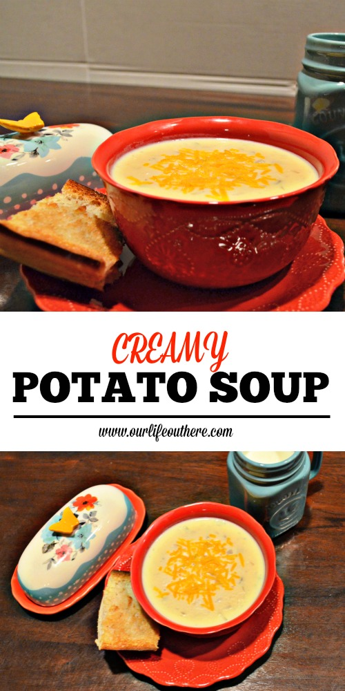 This potato soup is great as-is or garnished with bacon, chives and cheese. #potatosoup #comfortfood