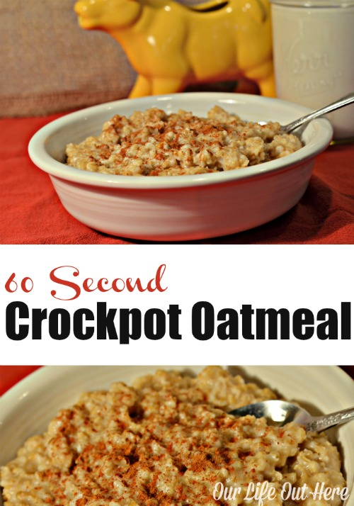 In a rush every morning? Prepare this crockpot oatmeal the night before and wake up to a healthy, hot breakfast! #crockpotrecipes #crockpotoatmeal #frugalrecipes