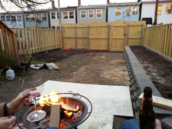 Fire pit with drinks