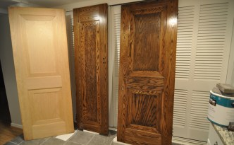 Stained doors with unfinished door