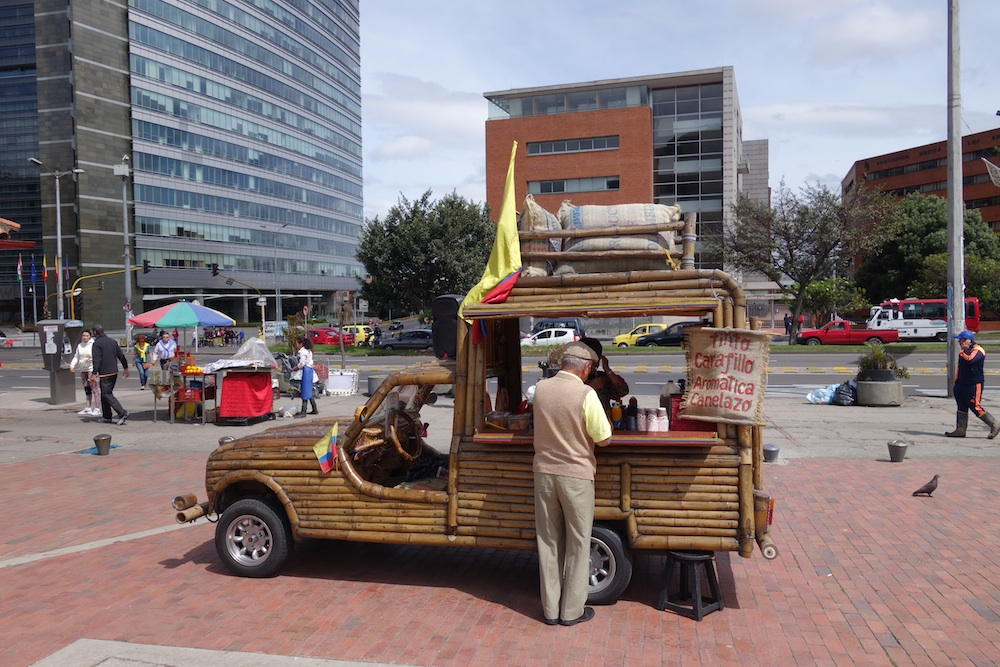 A very stylish mobile coffee cart