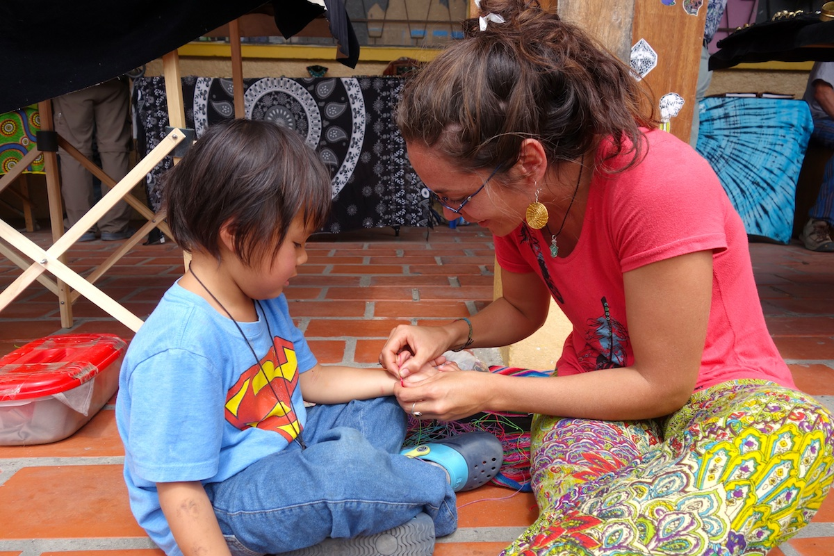 An Argentinean long-term traveler whom we ran into a couple times making Ty a bracelet.