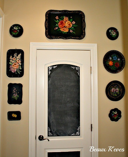 Beaux 23 great way to use Tole trays and like that the chalkboard painted door ties in.