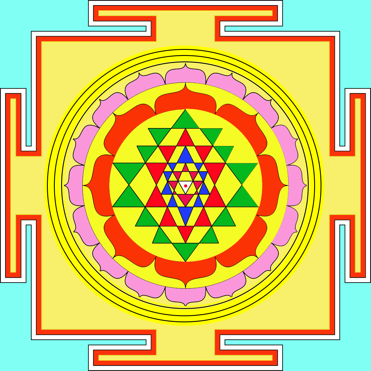 Sri Yantra Meditation on four square symbol