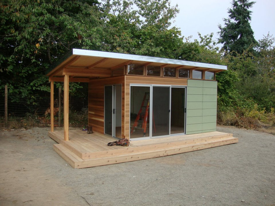 12 39 x 16 39 coastal backyard office westcoast outbuildings for Prefab work shed