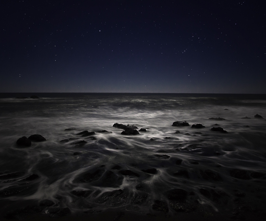 Night photography on the California coast