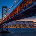 Shot of the Bay Bridge from Treasure Island toward San Francisco
