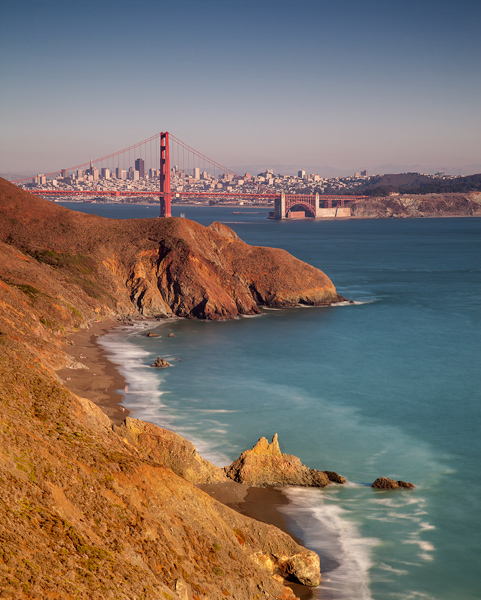 Shot of the Golden Gate Bridge from the Marin Headlands