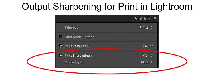 Output sharpening for print in Lightroom