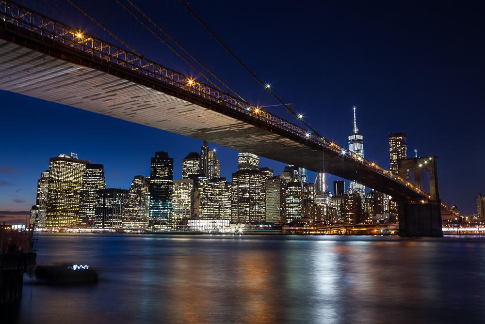 Shot of Manhattan from Brooklyn Bridge Park