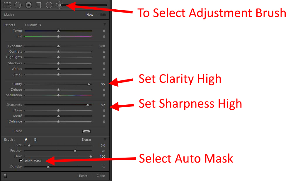 How to Photograph the Moon adjustment brush settings