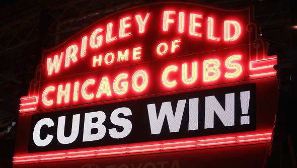 CHICAGO, IL - OCTOBER 30:  The marquee above Wrigley Field shines after the Chicago Cubs beat the Cleveland Indians 3-2 during Game Five of the 2016 World Series on October 30, 2016 in Chicago, Illinois.  (Photo by Scott Olson/Getty Images)