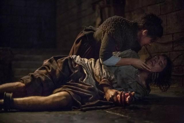 Caitriona Balfe (Claire Randall Fraser) and Sam Heughan (Jamie Fraser)
