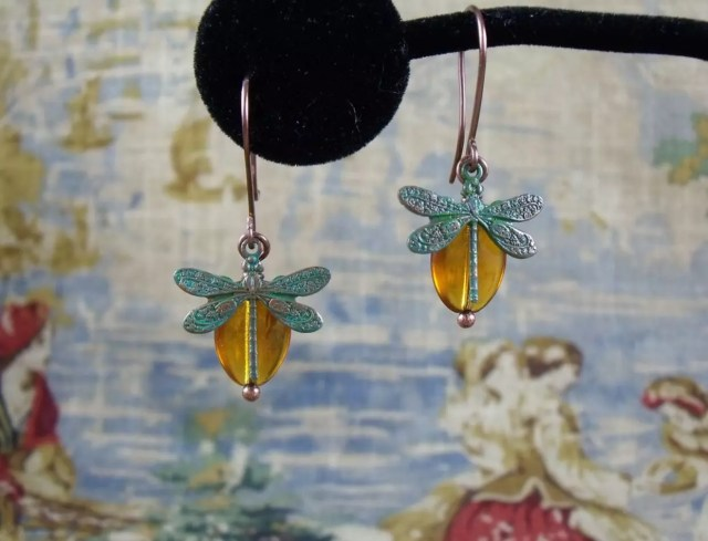 Dragonfly in Amber earrings