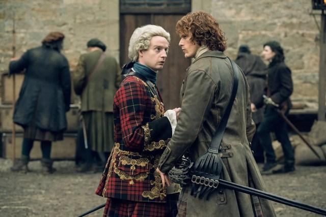 Andrew Gower (Prince Charles Stuart) Sam Heughan (Jamie Fraser)