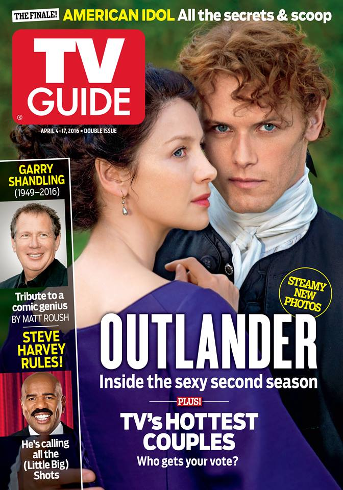 Season 2  Outlander  TV Guide Cover   Outlander TV News Pick up a copy of TV guide Magazine on stands April 4th  and tune into  Starz for Outlander s return Saturday April 9th at 9pm