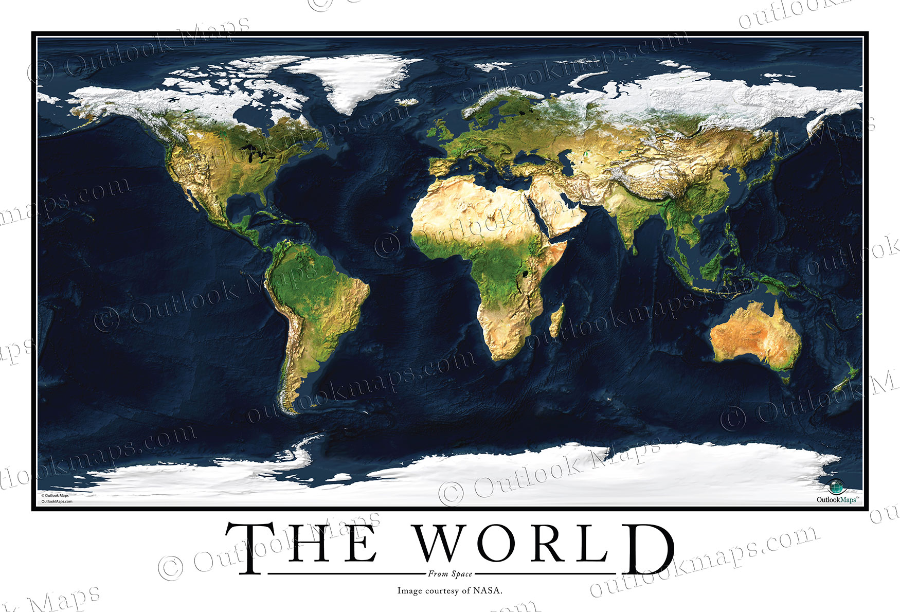 Satellite Map Poster of World   High Detailed Image WORLD991   World Satellite Map Poster