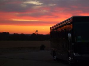 Beautiful Sunrise And Our Coach