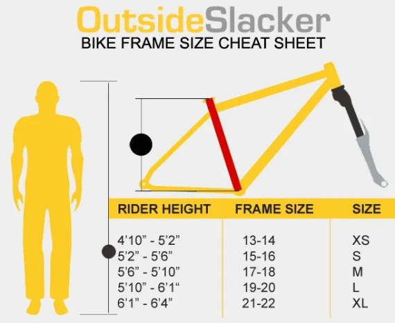 Bike frame size cheat sheet