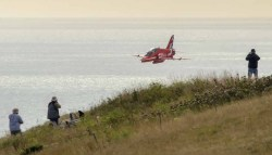 Red Arrow on its run in to the display area at Eastbourne 2015