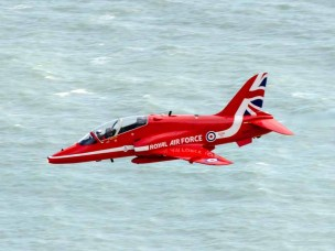 Red Arrow passing Beachy Head. Eastbourne Airshow 2015