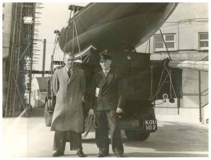 My Dad Leonard Webb and Clive Smith in Camper & Nicholsons boat yard in Gosport. Behind is the Dragon class Royal Yacht, Bluebottle. Credit to the original photographer