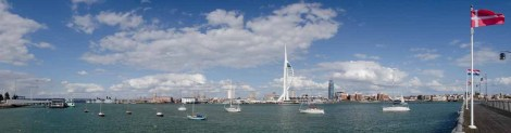 Spinnaker Tower and Portsmouth Harbour. Original and best colour for the tower!