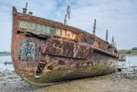Former Gosport Ferry Vadne decaying in Forton Creek, Gosport