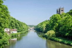 View of the River Wear from Prebends Bridge. Prebends Bridge was designed by George Nicholson to replace a temporary bridge built after the footbridge, built in 1574, was swept away during a flood in 1771.