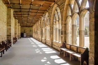 One of the four covered alleys called 'ranges' around the Cloister, Durham Cathedral. There are a number of entrances and exits to and from the Cloister. This one in the north east corner is known as the Prior's Door.