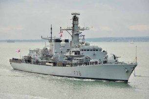 HMS Kent returning to Portsmouth Harbour from operations in The Gulf