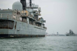 HMS Manchester with HMS Liverpool in the distance.