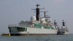 HMS Southampton with HMS Exeter and HMS Nottingham waiting disposal in Portsmouth Harbour