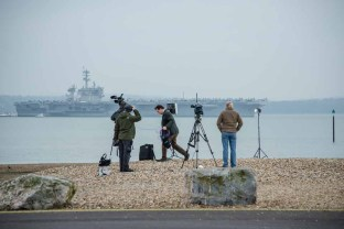 USS Theodore Roosevelt attracting early morning cameras and news