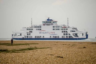 Isle of Wight car ferry St. Clare passing Gilkicker point