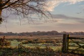 Titchfield Haven National Nature Reserve seen from the footpath alongside the River Meon.