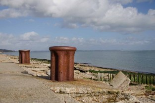 Bollards used to tie up the ships that were being loaded for the invasion