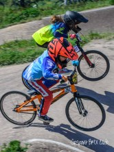 Close moto racing at Gosport BMX Club