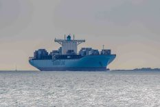 EBBA MAERSK sailing past Lepe Country Park prior to docking at Southampton. The EBBA MAERSK is a container ship built in 2007, has an overall length of 396 m and a beam of 56 m. The EBBA MAERSK is owned by the Danish shipping company A. P. Moller-Maersk There are seven other sister ships and are amongst the largest container ships built