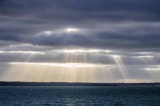 A 'by chance' capture of crepuscular rays (sun rays through clouds)