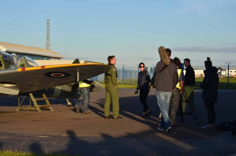 TV camera crew with James Martin at Solent Airport