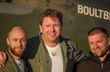 James Martin at Solent Airport Daedalus after a flight in a Boultbee Acadamy Spitfire