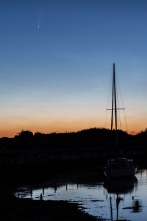 Pre dawn colours in the sky at Titchfield Haven. The comet Neowise is visible towards the top left