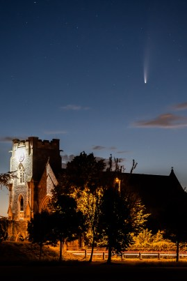 Comet Neowise 'above' Holy Rood Church, Stubbington