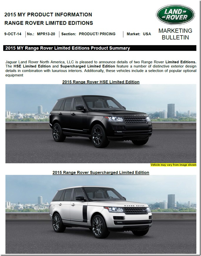 Two range rover limited editions coming to usa for 2015my for Range rover exterior design package