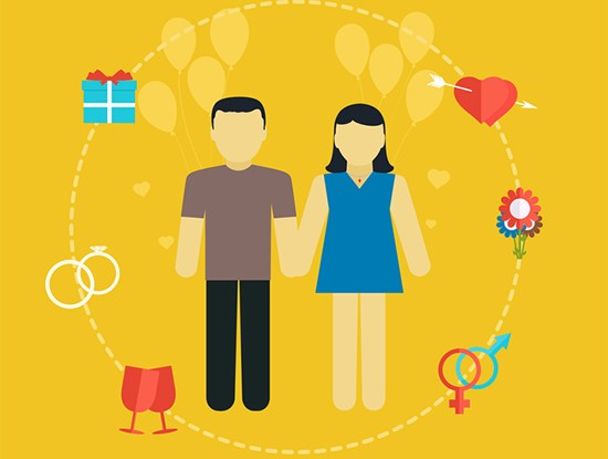 Young couple, wedding concept with icons, family planning, flat