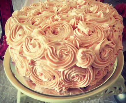 Eggless Strawberry Cake with Buttercream Frosting