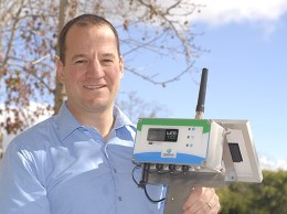 Hortau co-founder Jocelyn Boudreau. The Canadian company, which maintains its U.S. offices in San Luis Obispo, makes a sensor that measures how much water in the soil is available to crops and then feeds the data to a cloud-based center. (Stephen Nellis photo)