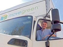 Movegreen founder and CEO Erik Haney started the business in 2007. The company looks to reduce waste by driving biodiesel vehicles and using recycled boxes. (Stephen Nellis / Business Times photo)